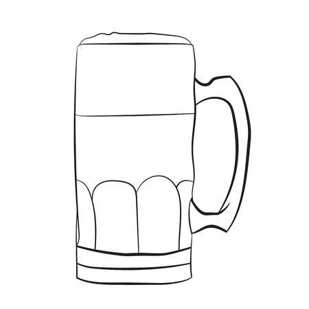 Illustration of A Cartoon Black and White Beer Mug. Vector EPS 10
