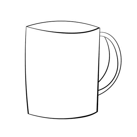 Illustration of A Cartoon Black and White Mug. Vector EPS 10