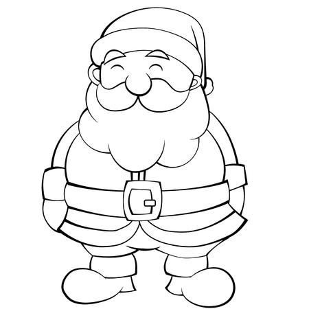 Illustration of a Happy Cartoon Black and White Santa. Vector EPS10