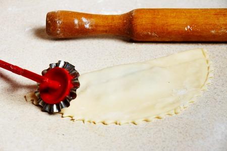 Not fried pasties Traditional Turkish-Mongolian dish. Stockfoto