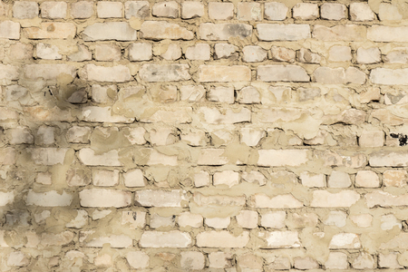 Brick wall of old white brick as background Stock Photo