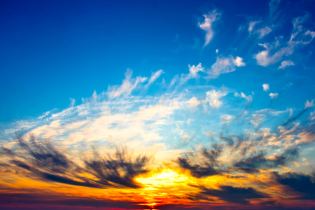 Sky, Bright Blue, Orange And Yellow Colors Sunset.