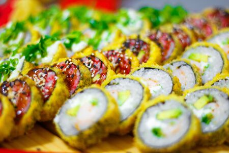 Set of various sushi close up as background 免版税图像