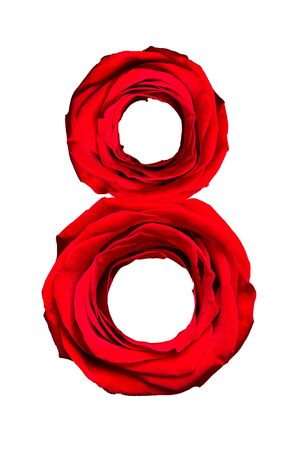 Symbol of International Womens Day, figure 8 made of roses on a white background.