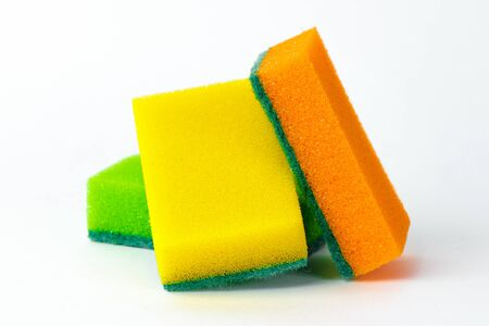 Multi colored washcloths for washing dishes isolate Фото со стока
