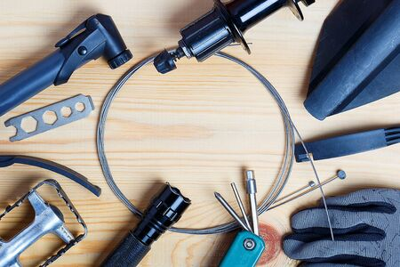 Accessories for spare parts for mountain bikes. view from above. Фото со стока
