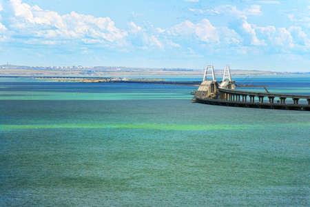 Crimean bridge. view from the coast to the sea coast and the bridge.