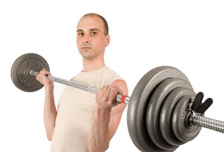 Weightlifting. Man with barbell isolated on white Stock Photo - 5318521
