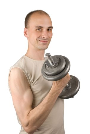 Man with barbell isolated on white Stock Photo - 5318364