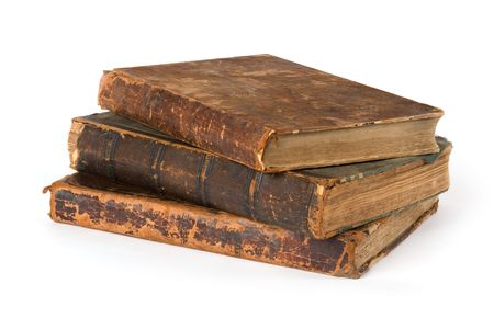 Stack of old Books Isolated on a White Background photo