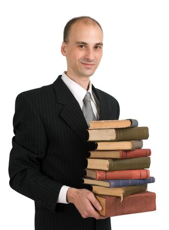 man with books on white background photo