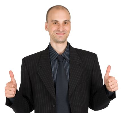 businessman with thumbs. isolated on white background photo