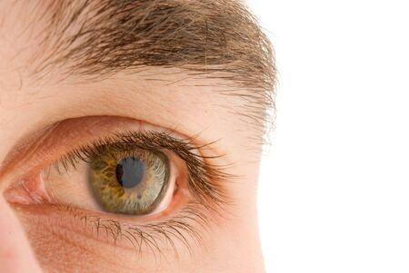 dilate: man`s open colorful eye