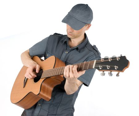 man playing guitar isolated on white photo