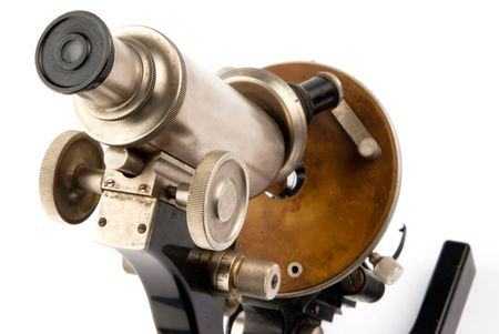 collectable: closeup old microscope on white background