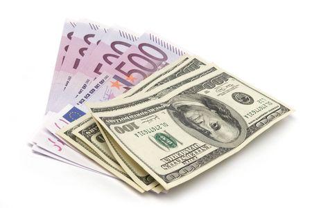 euro notes: Money isolated on a white background Stock Photo