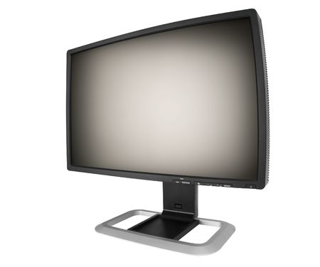 futuristic monitor on white photo