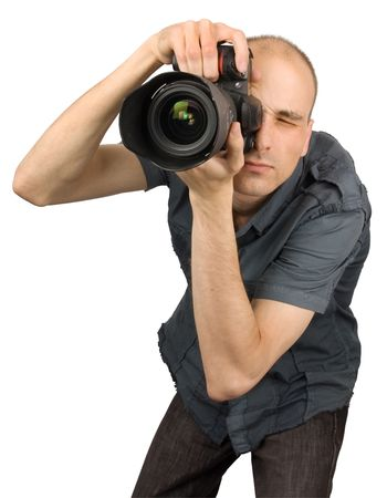 human photography: Professional Photographer isolated on white Stock Photo