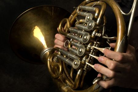 timbre: French Horn closeup Stock Photo