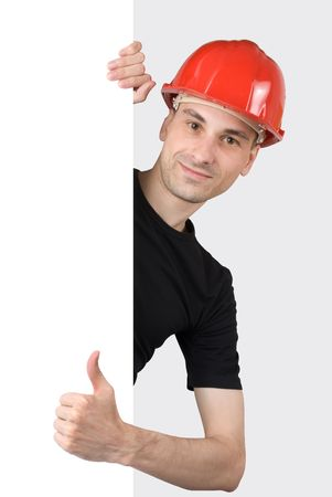 Construction worker with a blank sign Stock Photo - 5318345