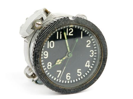time critical: old mechanical  airborne clock Stock Photo