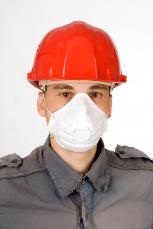 respiratory apparatus: man in helmet Stock Photo
