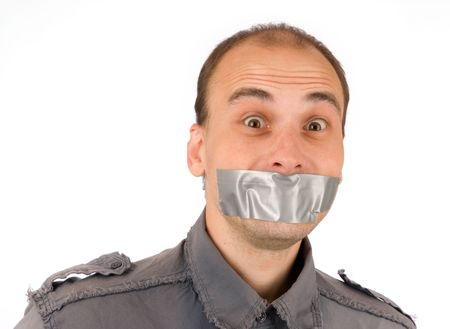 mouth closed: man silenced with duct tape over his mouth Stock Photo