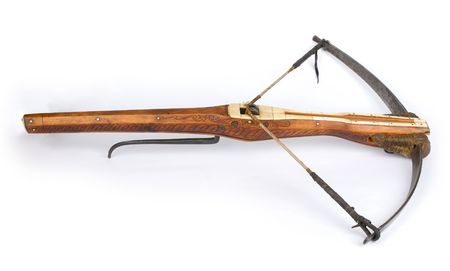 a drawn crossbow isolated on white photo