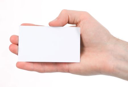 Hand holding an empty business card Stock Photo - 5339754