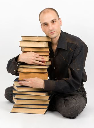man with books. Isolated on white Stock Photo - 5318637