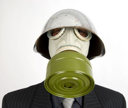 The businessman in a gas mask Stock Photo - 5318653