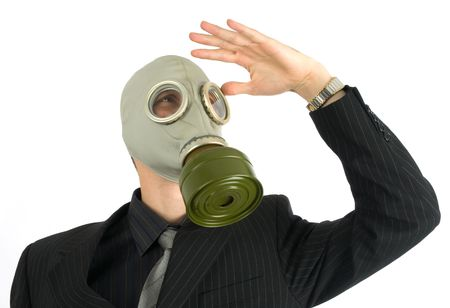 the businessman in a gas mask photo