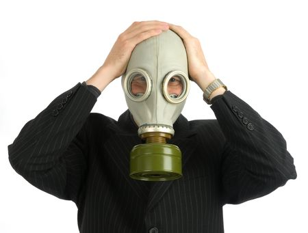 man in a gas mask photo