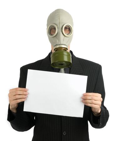 business man in a gas mask with white card Stock Photo - 5318617