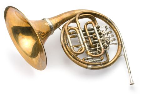 classics: Old horn on white background