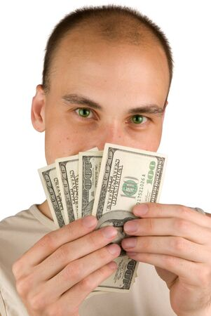 man Holding Money isolated on white photo
