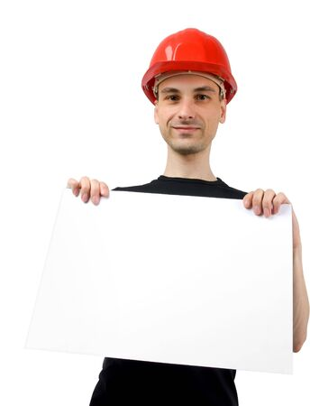 Construction worker with a blank sign. Isolated on white photo