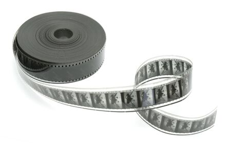 mm: 35 mm black and white film isolated in white background