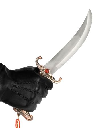 malice: Hand in glove with dagger, isolated on white Stock Photo