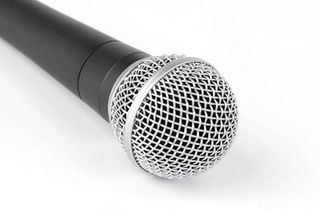 A prof black microphone on white background photo