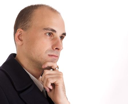 Thinking Businessman isolated on white Stock Photo - 5654285