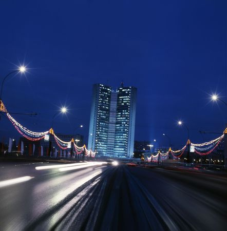 Night Moscow highway Stock Photo - 5665382