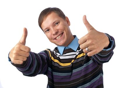 Young man giving an energetic thumbs up Stock Photo - 5724063