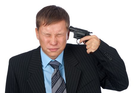 scared man: A man with the gun at his head Stock Photo