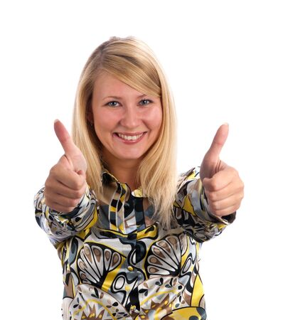 happy young lady showing thumb's up sign against isolated white background Stock Photo - 5762516