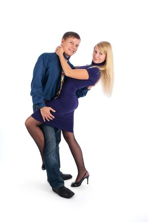 Young attractive couple dancing photo