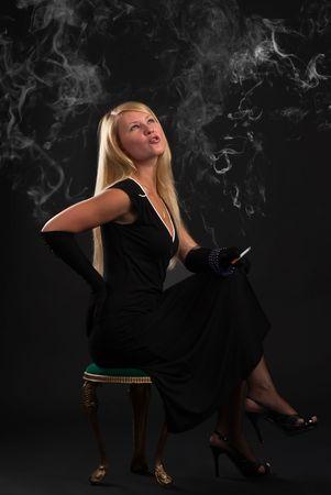 smoking lady photo