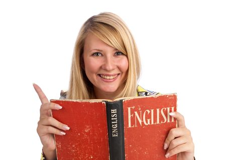 learn english: portrait of a happy young woman with a book in her hands