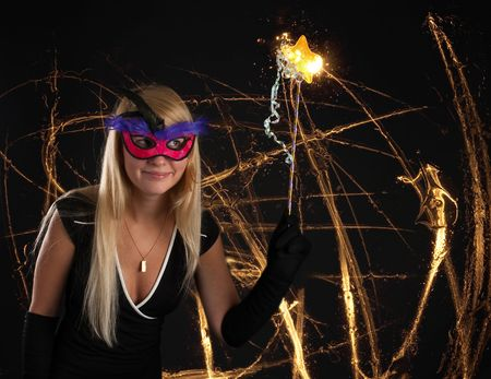 beautiful magician with Magic wand Stock Photo - 5833362