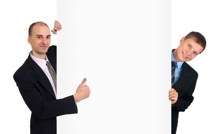 two business mans standing by white blank card Stock Photo - 5833394